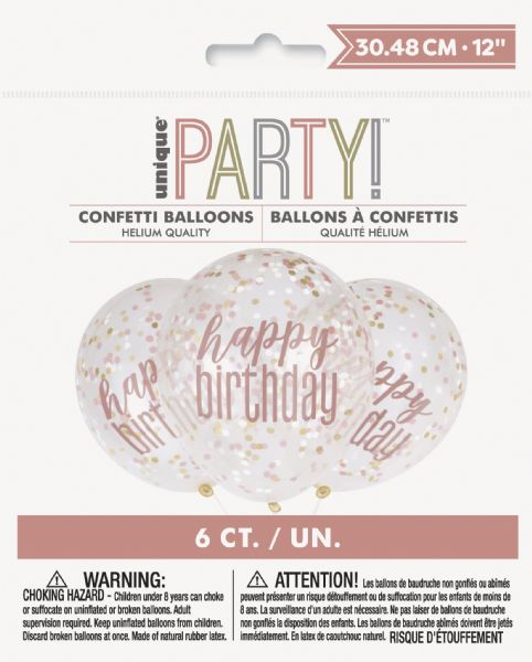 Glitz Rose Gold Happy Birthday Confetti Latex Balloons (6)